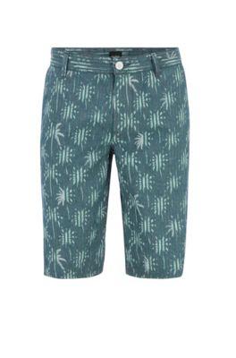 Short van oxfordkatoen met palmboomprint, Groen