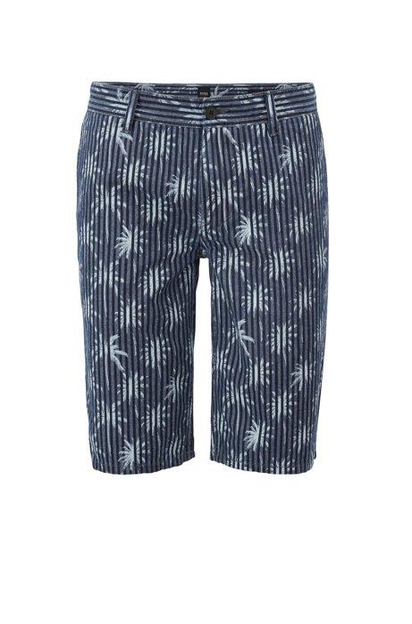 Short van oxfordkatoen met palmboomprint, Donkerblauw