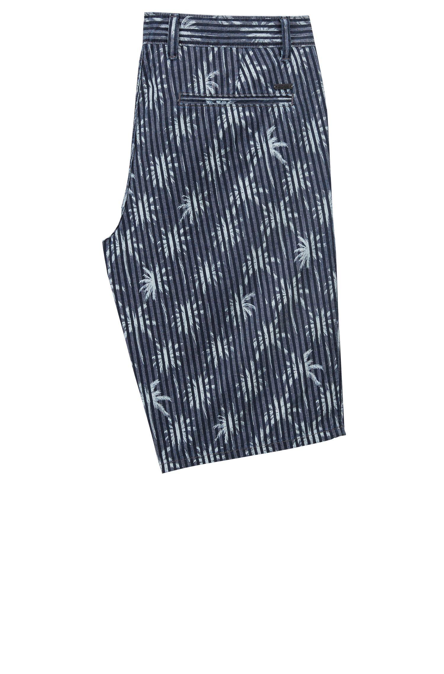 Pantaloncini in cotone Oxford con palme stampate, Blu scuro