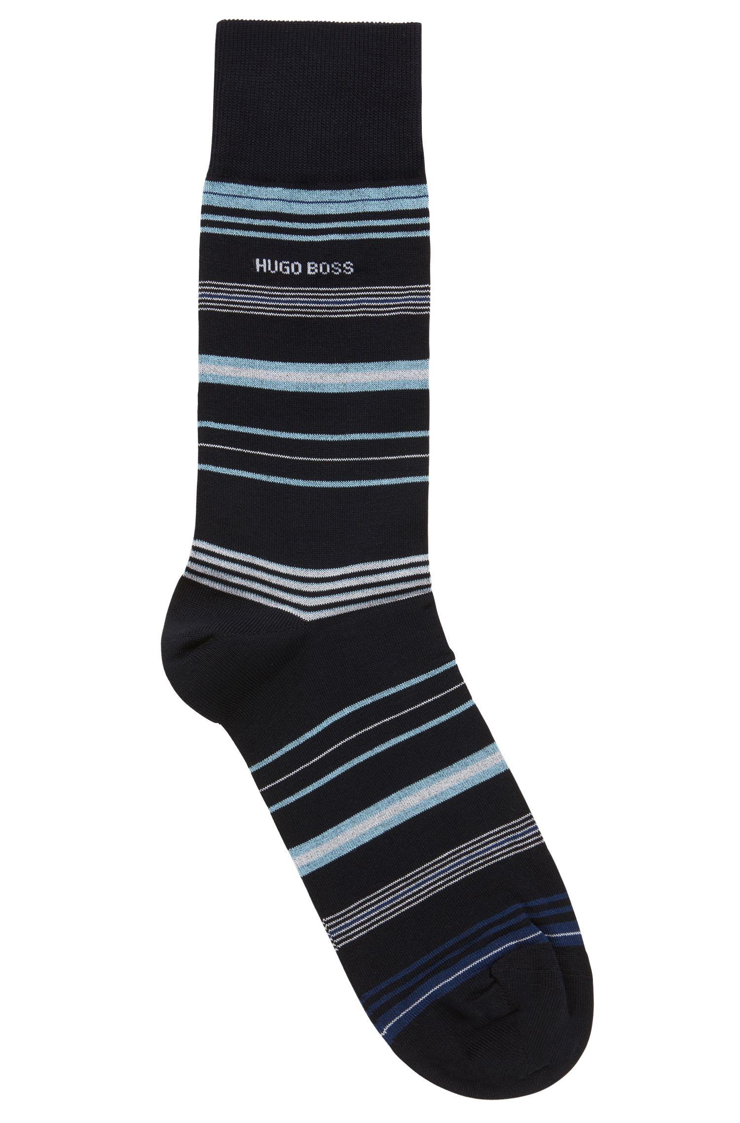 Chaussettes à rayures en coton stretch mélangé mercerisé, Bleu foncé