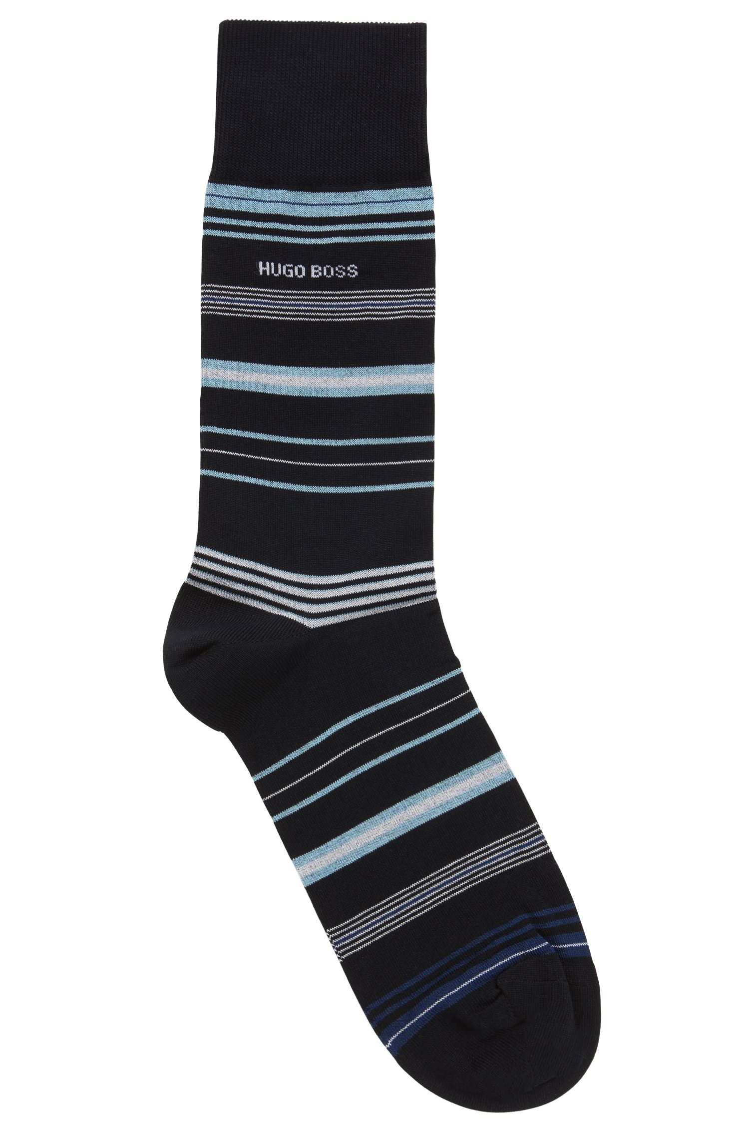Calcetines a rayas en mezcla de algodón elástico mercerizado, Azul oscuro