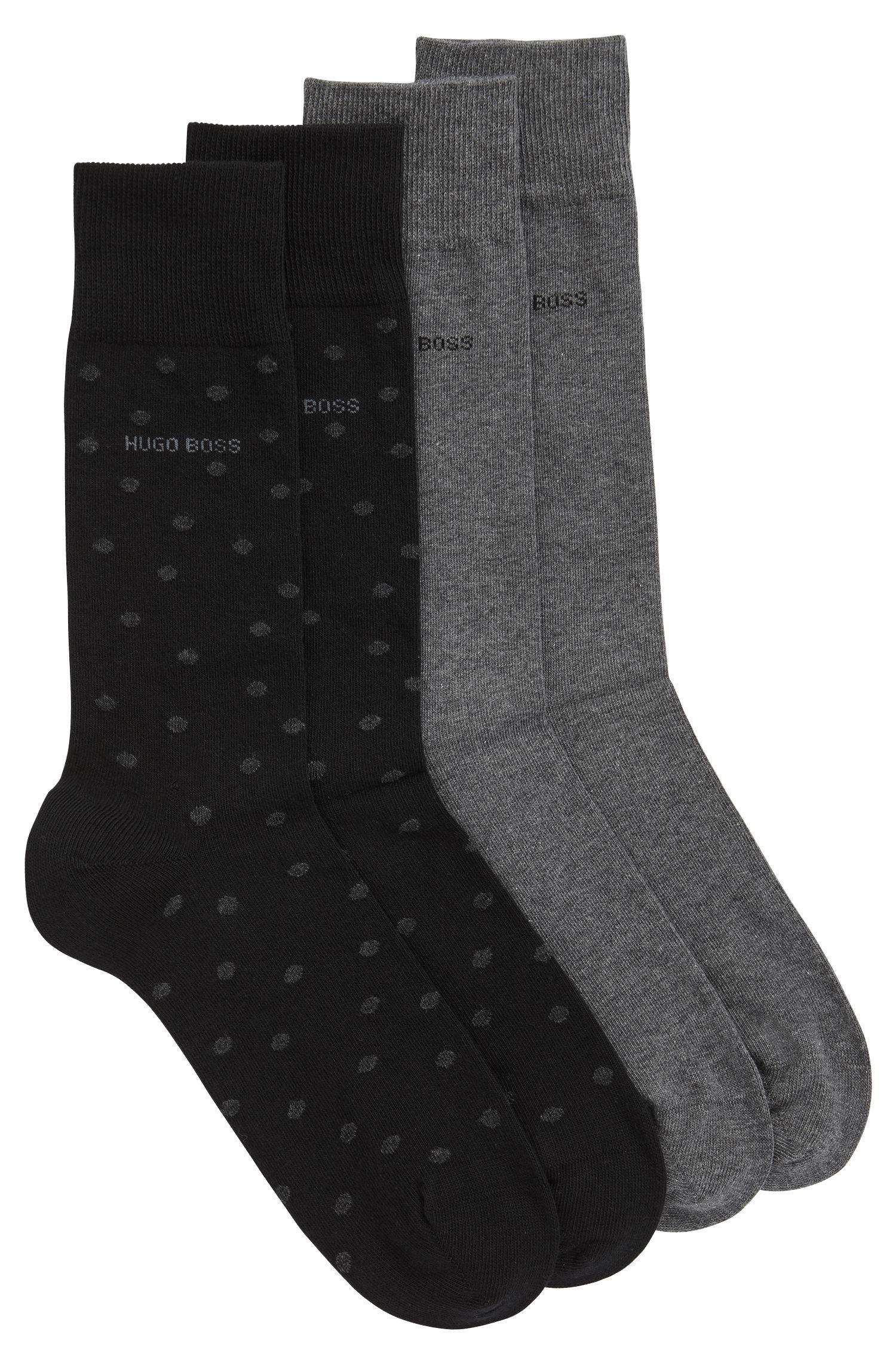 Two-pack of regular-length socks in a cotton blend, Black