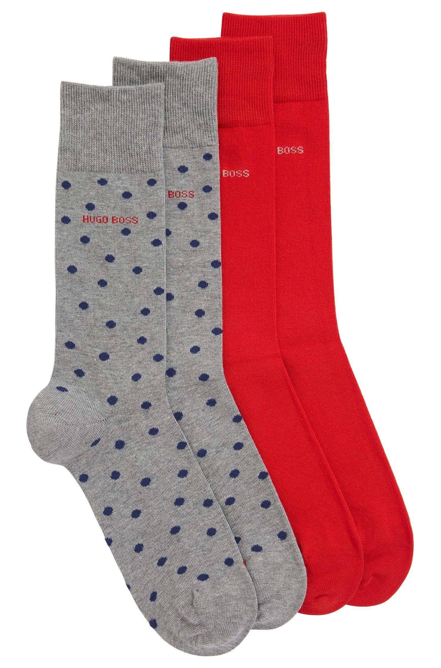 Lot de deux paires de chaussettes mi-hautes en coton mélangé, Argent