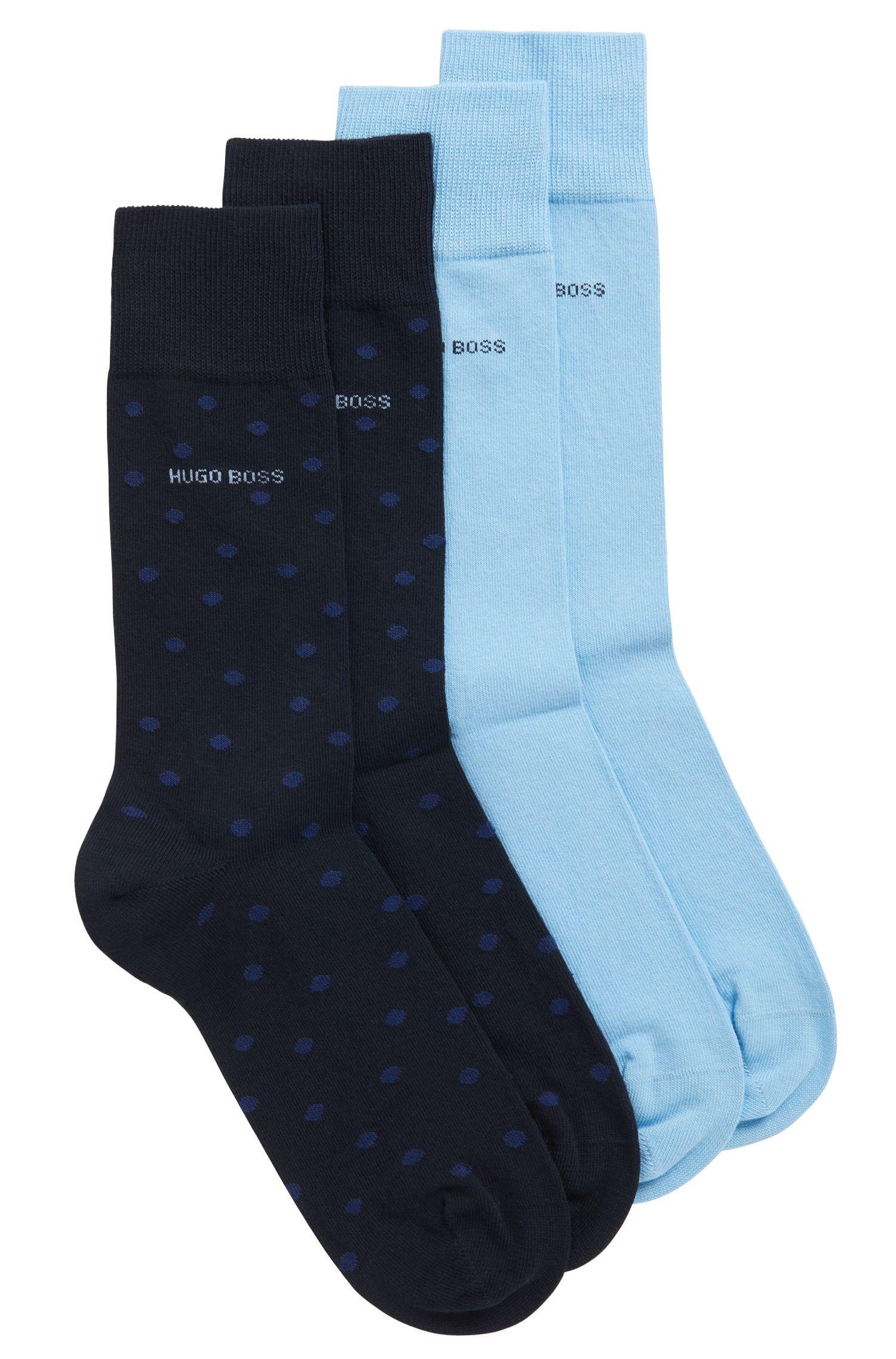 Mittelhohe Socken aus elastischem Baumwoll-Mix im Zweier-Pack, Dunkelblau