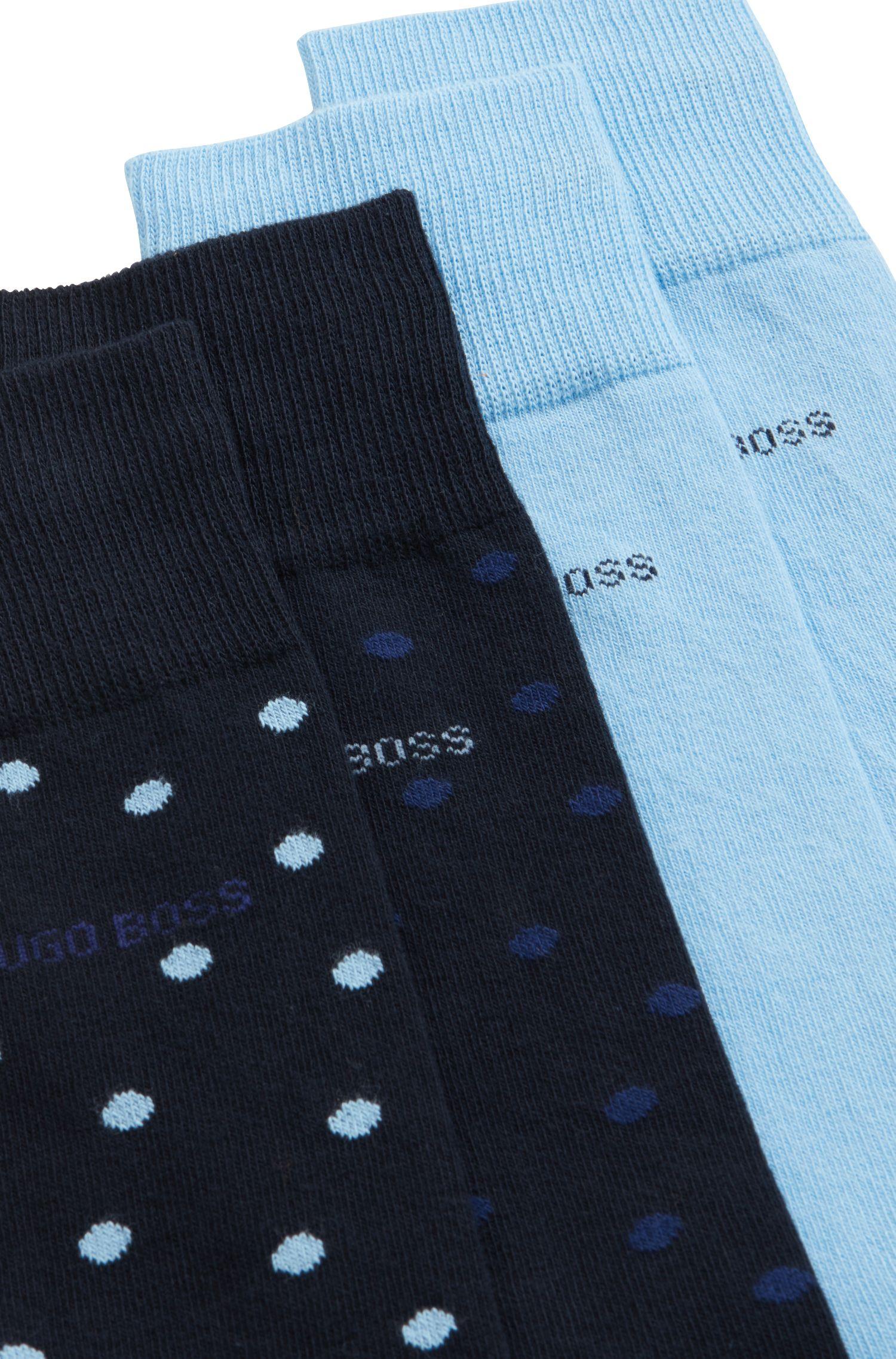 Calze di lunghezza media in misto cotone in confezione da due, Blu scuro