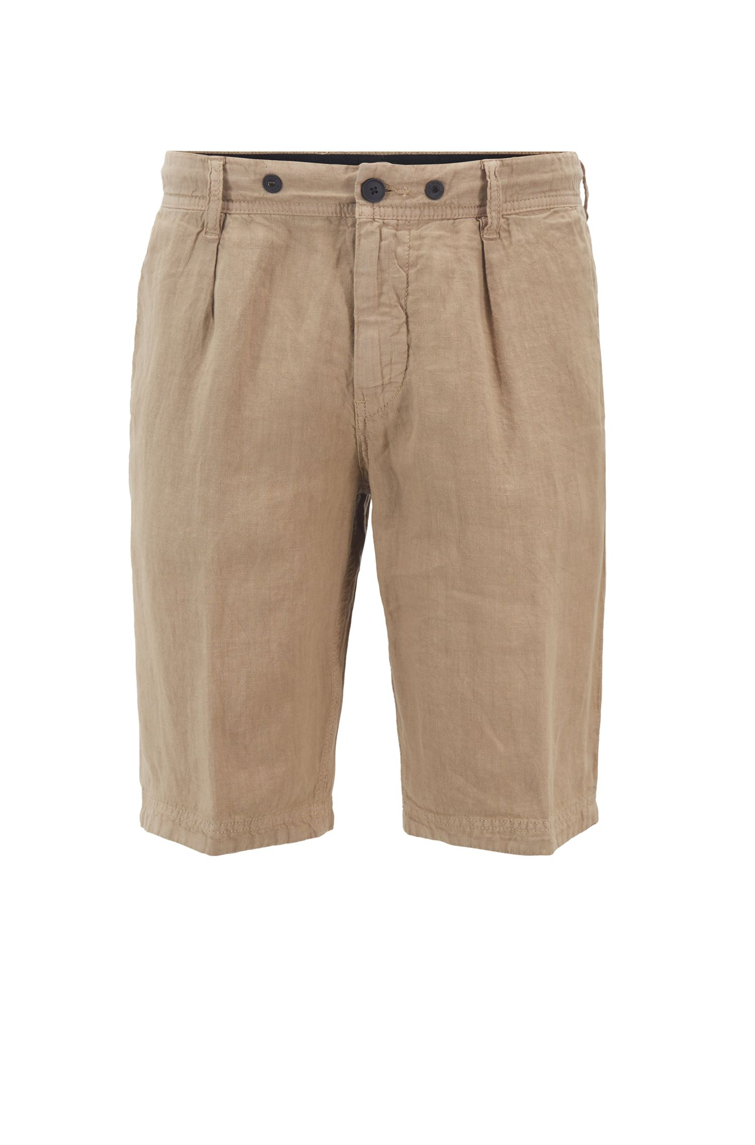 Tapered-Fit Shorts aus reinem Leinen mit Tunnelzugbund, Beige