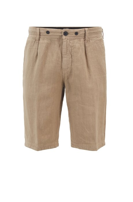 Tapered-fit shorts in pure linen with drawstring waist, Beige