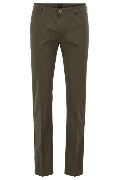 Chinos slim fit en algodón elástico con rayas finas, Verde oscuro