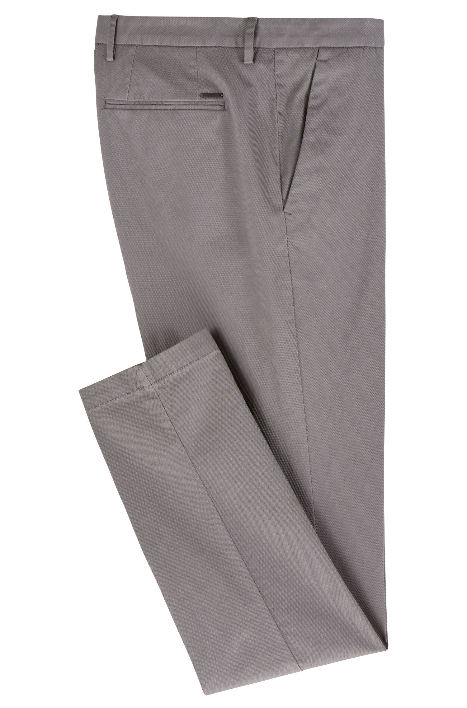 Slim-fit chinos in lightly structured stretch cotton, Grey