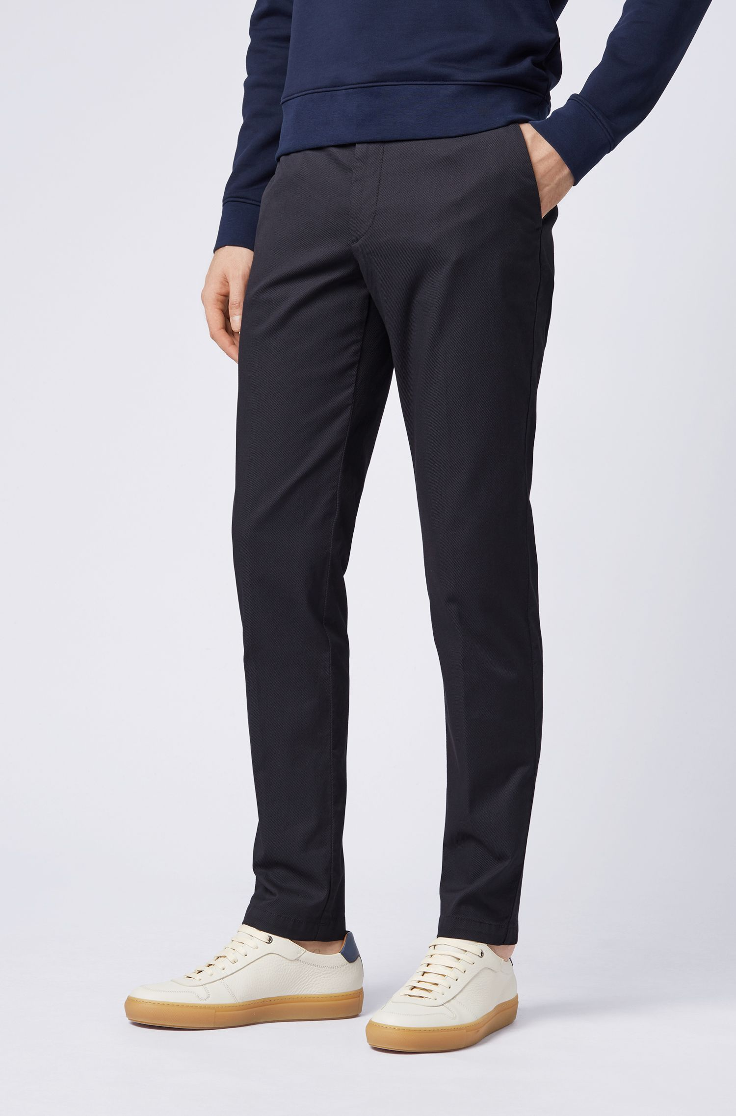 Slim-fit chinos in lightly structured stretch cotton, Dark Blue