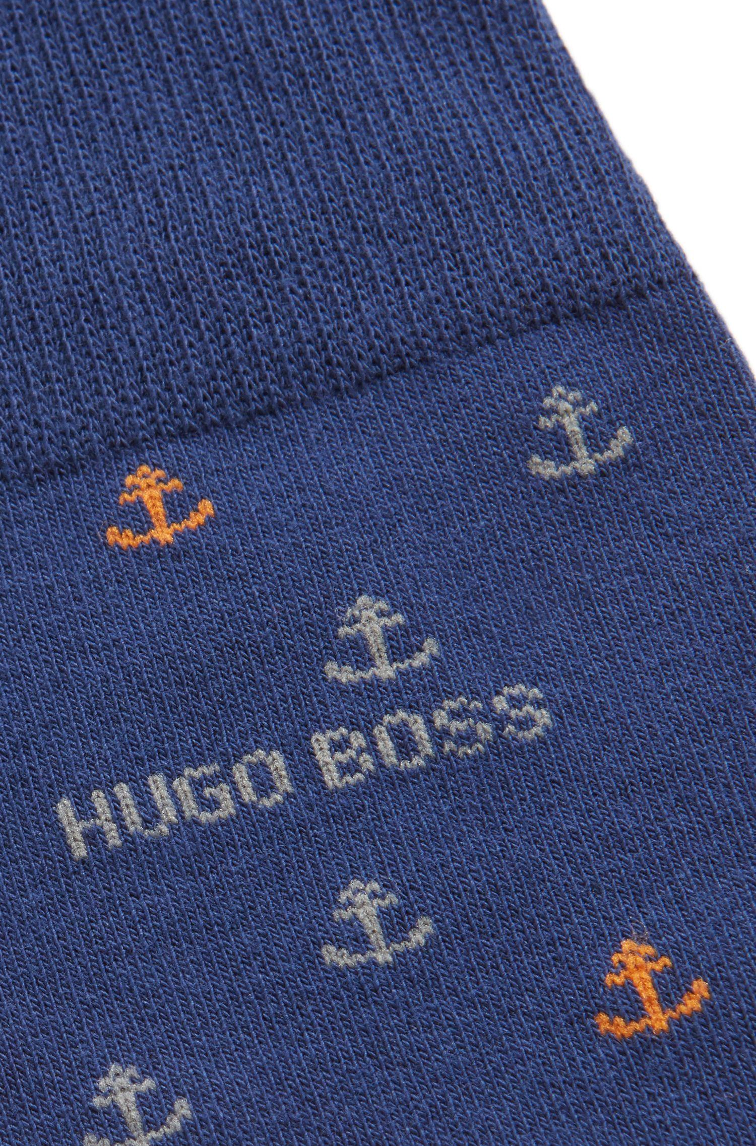 Regular-length socks with anchor pattern and stripe design, Dark Blue