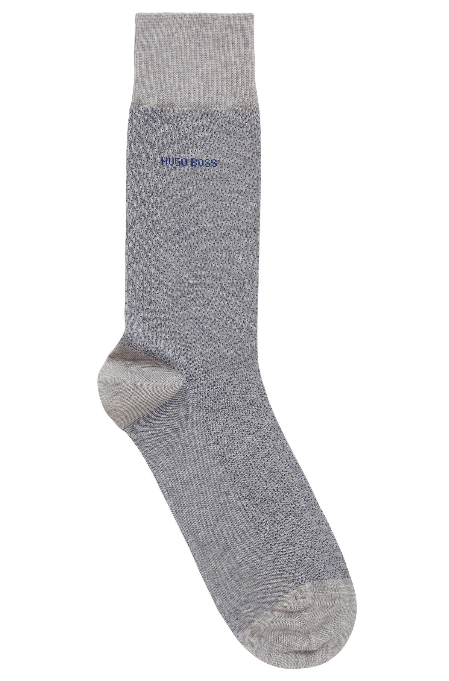 Sokken van gemerceriseerde stretchkatoen met microdessin, Zilver