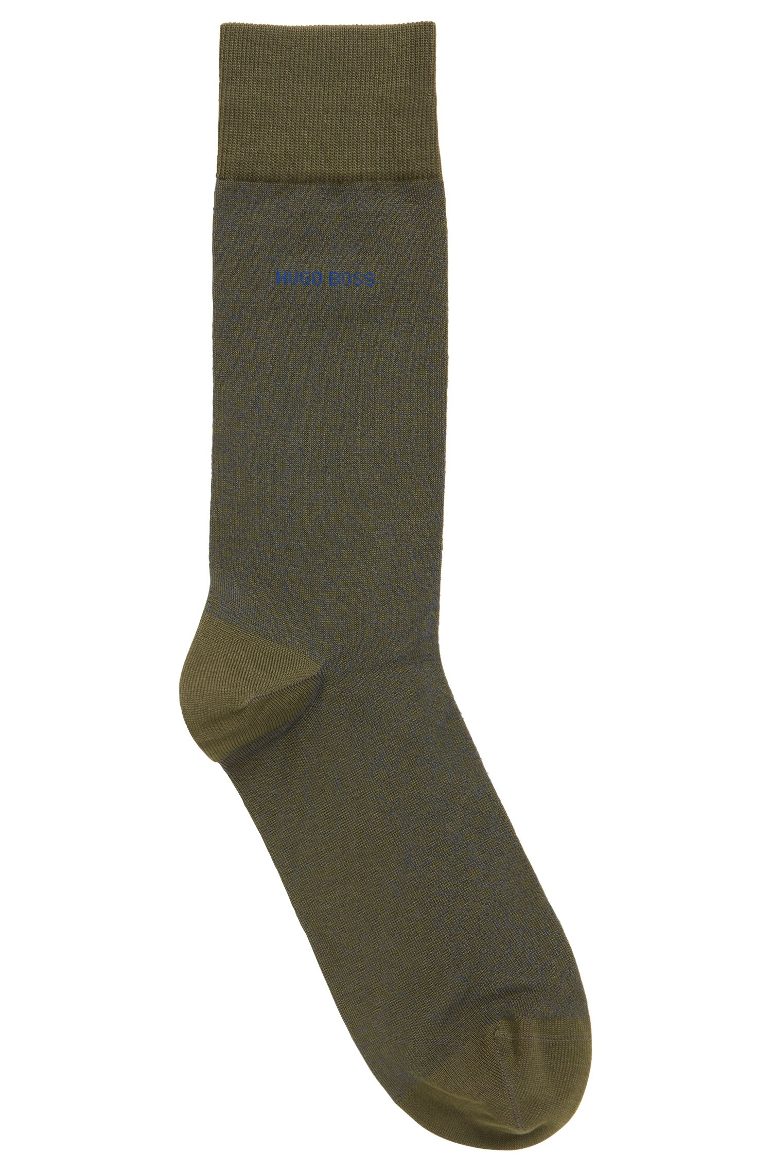 Micro-patterned socks in mercerised stretch cotton, Green