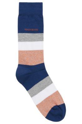 Sokken van normale lengte, met blokstrepen, Donkerblauw