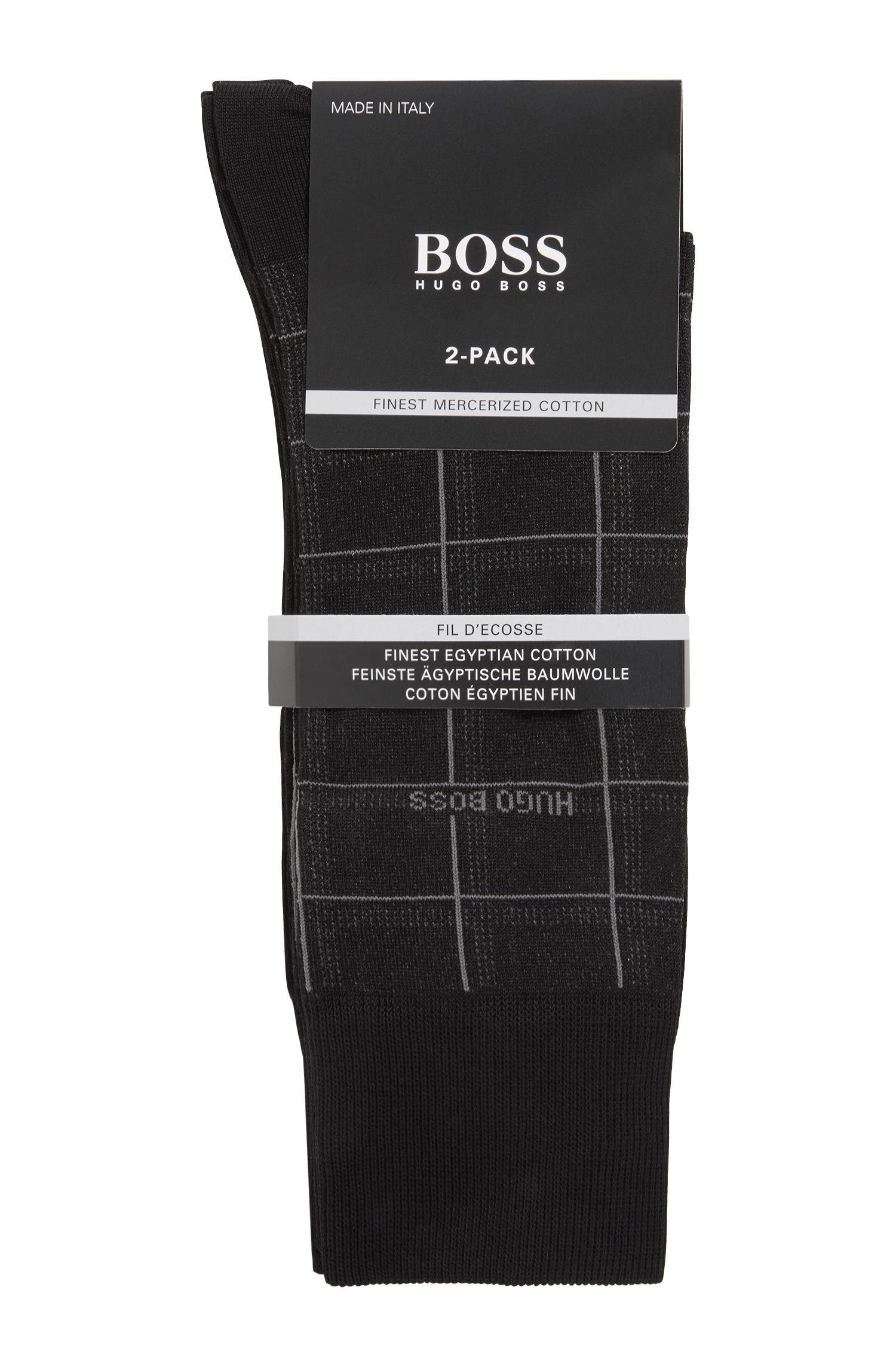 Lot de deux paires de chaussettes mi-hautes en coton mélangé, Noir
