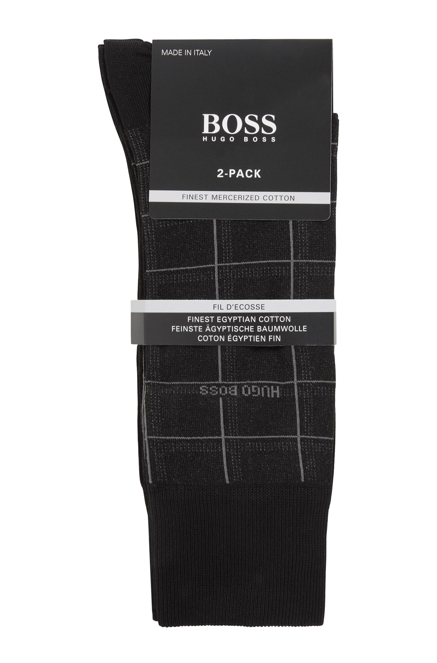 Calze di lunghezza media in misto cotone in confezione da due, Nero