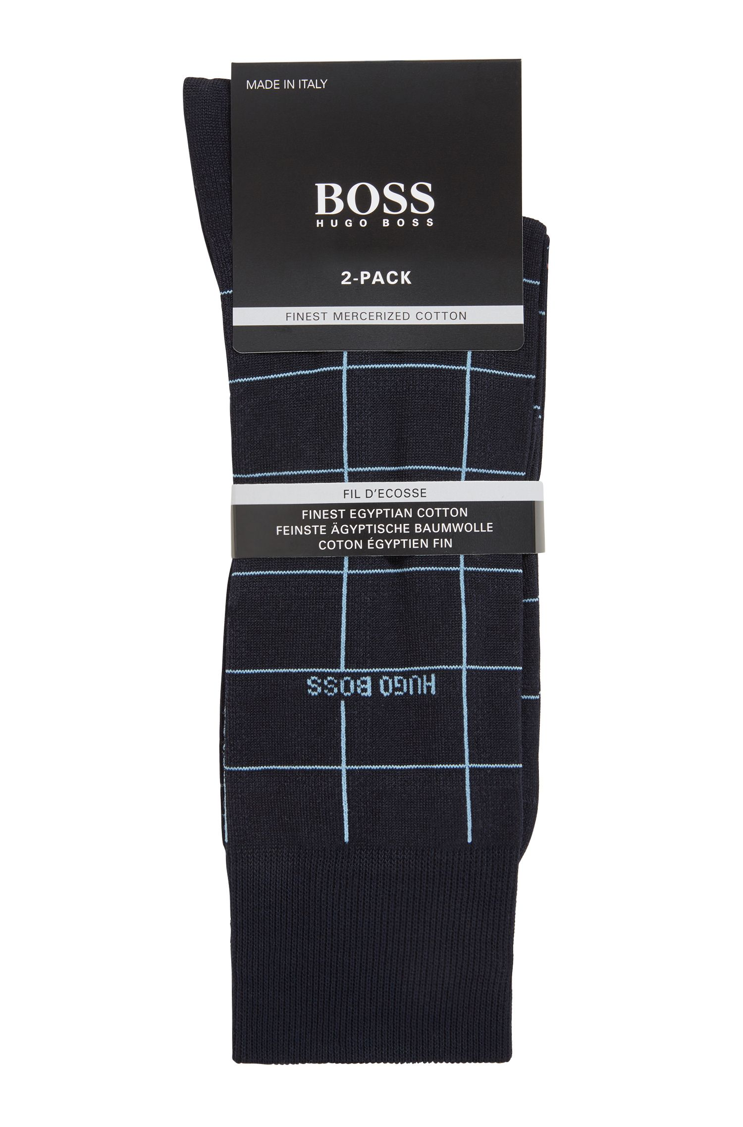 Two-pack of regular-length socks in a cotton blend, Dark Blue