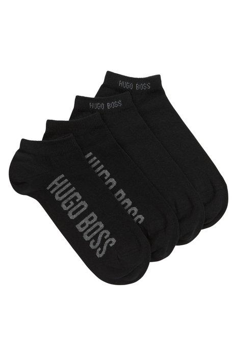 Zweier-Pack Sneakers-Socken aus elastischem Baumwoll-Mix mit Logo, Schwarz