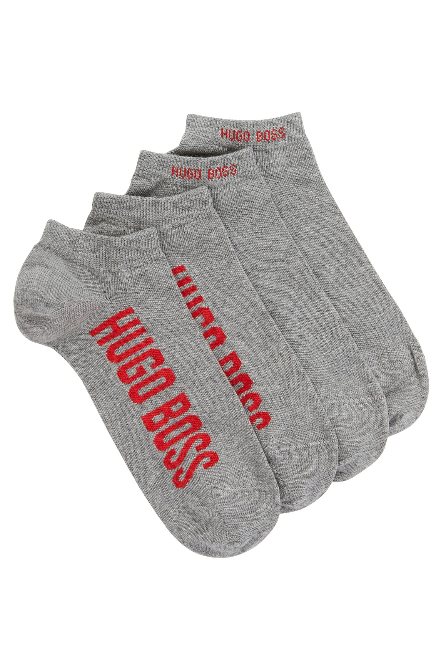 Two-pack of cotton-blend ankle socks with logos, Silver