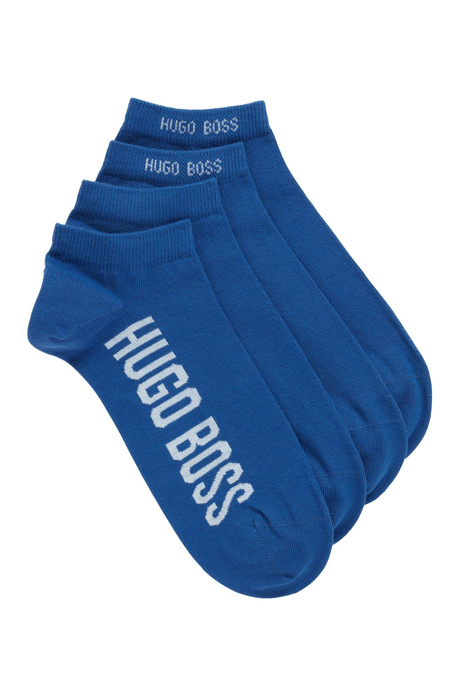 Zweier-Pack Sneakers-Socken aus elastischem Baumwoll-Mix mit Logo, Blau