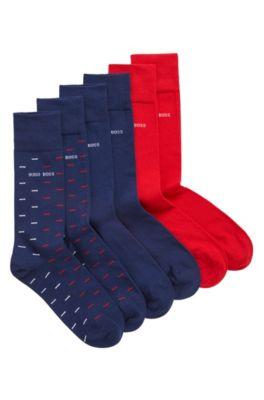 Paquete de tres pares de calcetines de largo normal con logo en caja de regalo, Azul oscuro