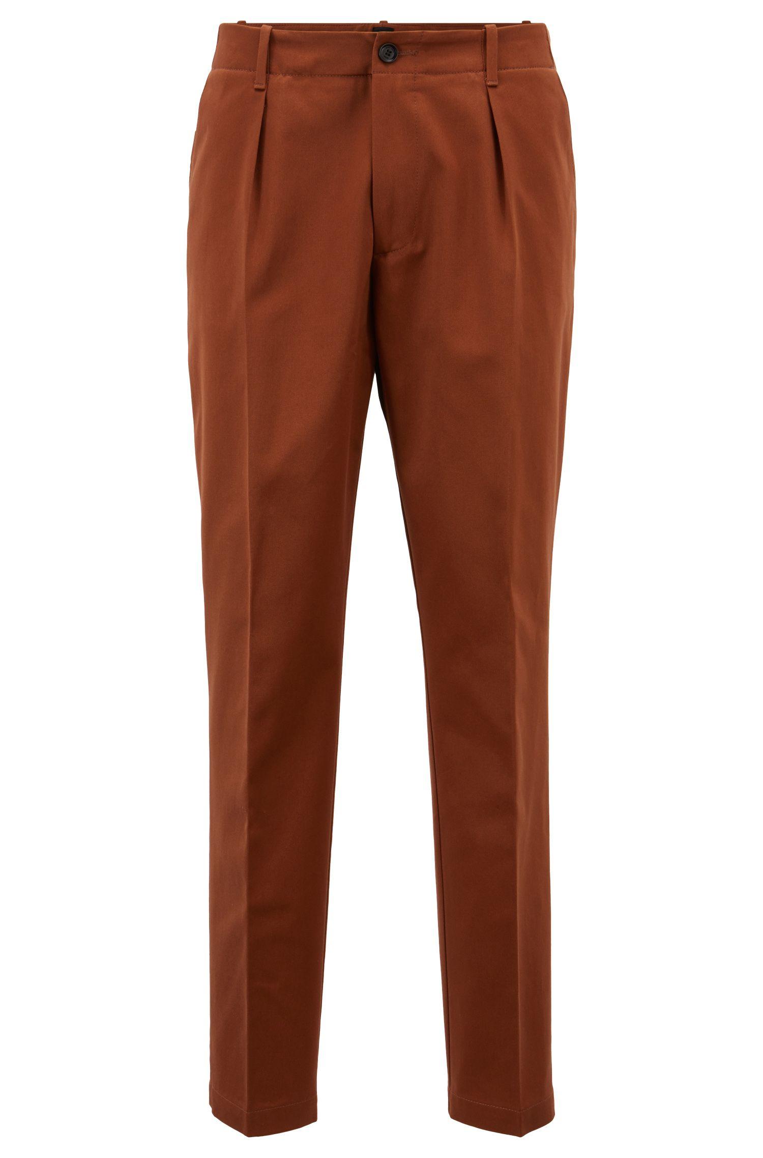 Hugo Boss - Pantalones relaxed fit en tejido de gabardina de algodón con bolsillos cosidos - 1