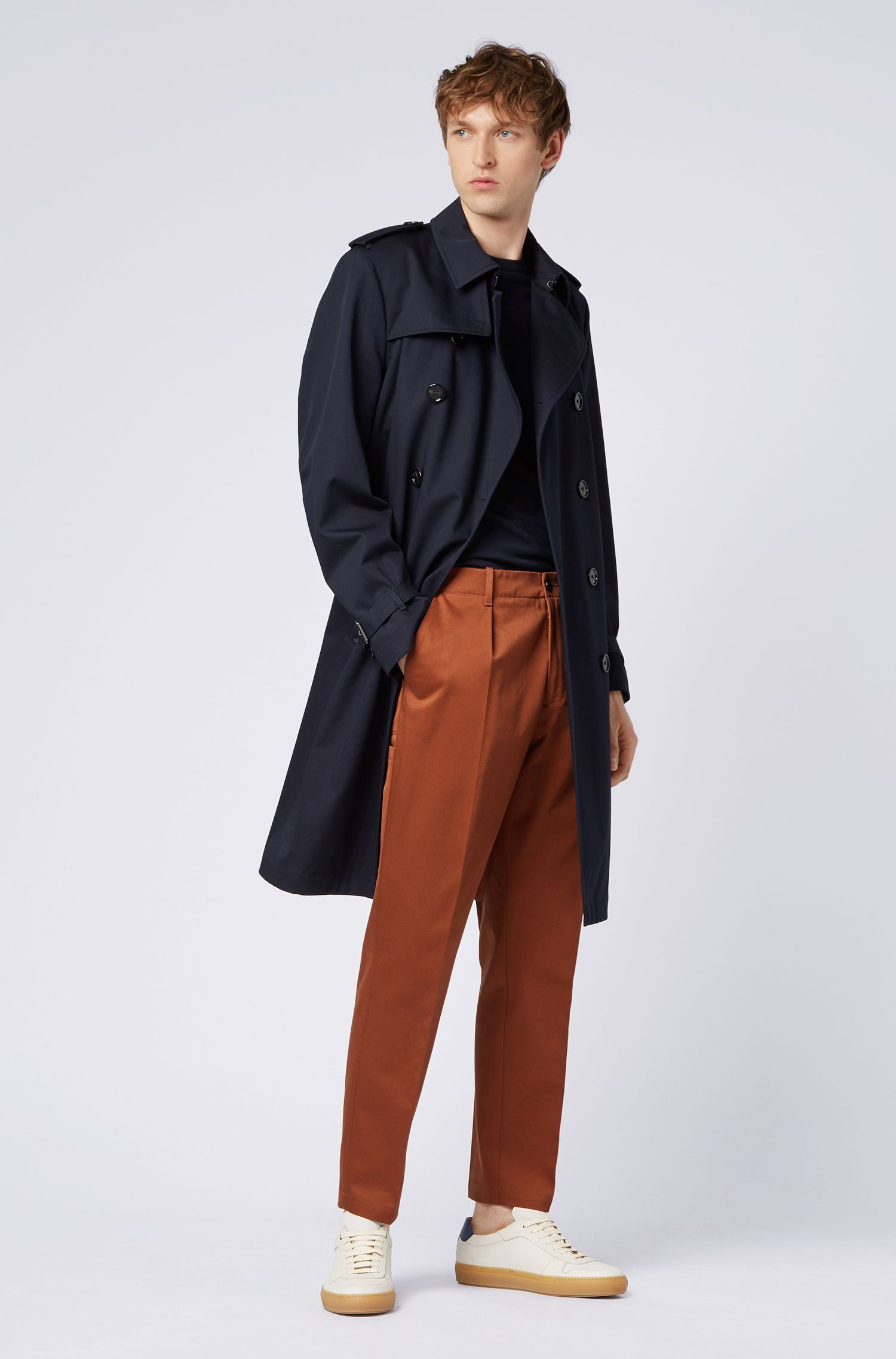 Relaxed-fit trousers in cotton gabardine with patched pockets, Brown