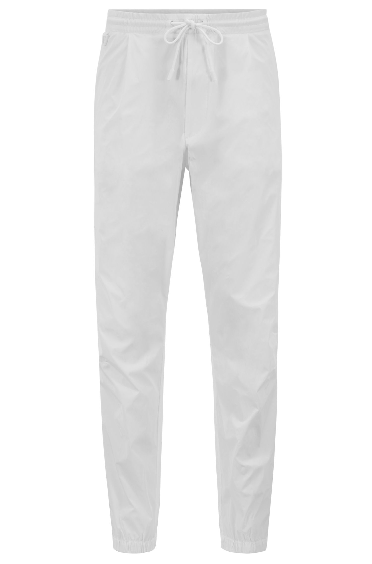 Relaxed-fit trousers in stretch fabric with drawstring waist, White