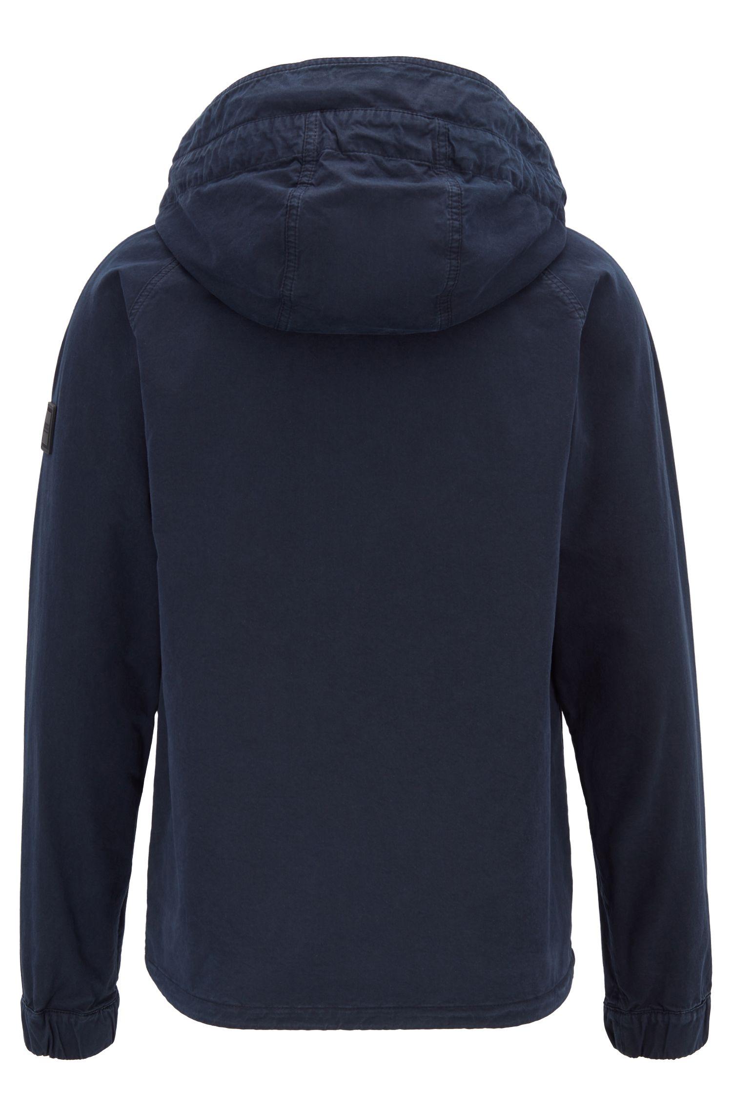 Regular-fit hooded jacket in cotton twill, Dark Blue