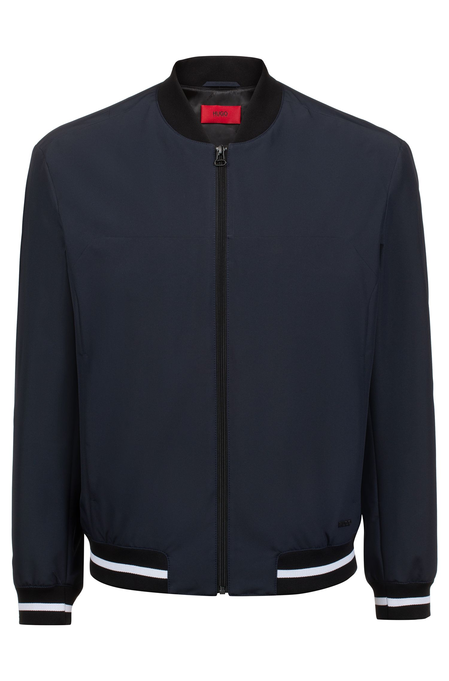 Slim-fit bomber jacket in water-repellent coated fabric, Dark Blue