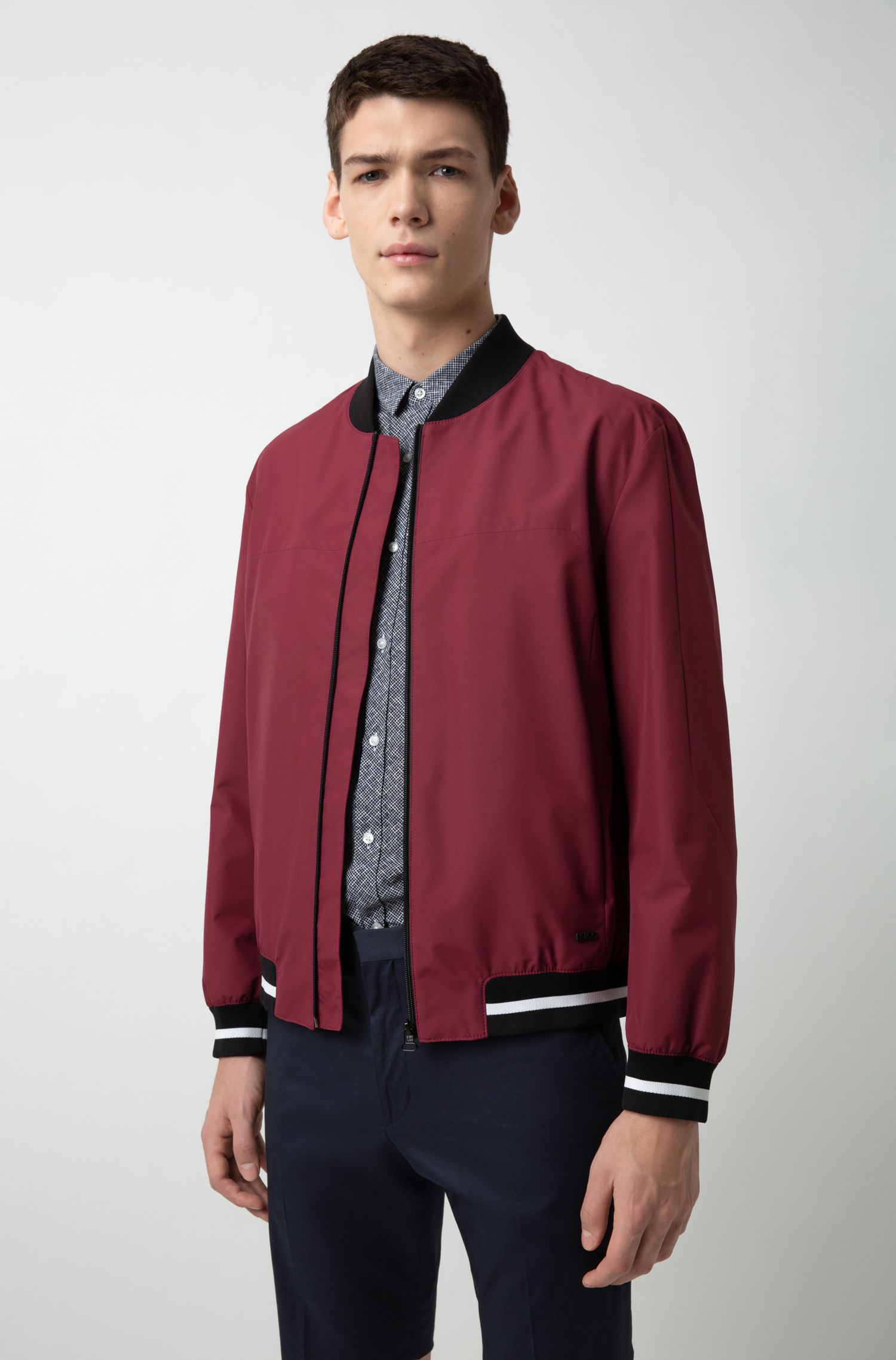 Slim-fit bomber jacket in water-repellent coated fabric, Dark Red