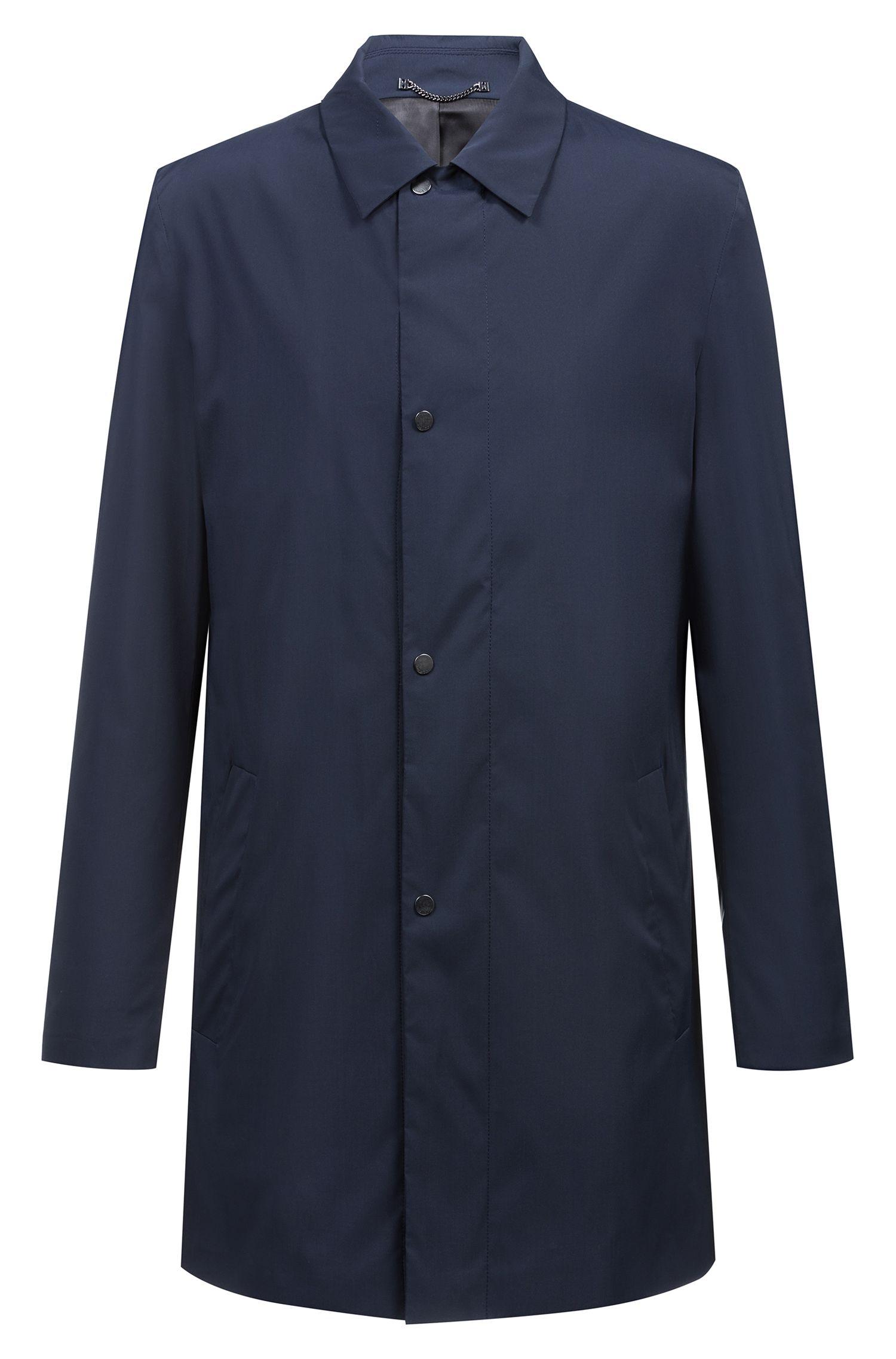 Cappotto idrorepellente in tessuto tecnico con colletto a punta, Blu scuro