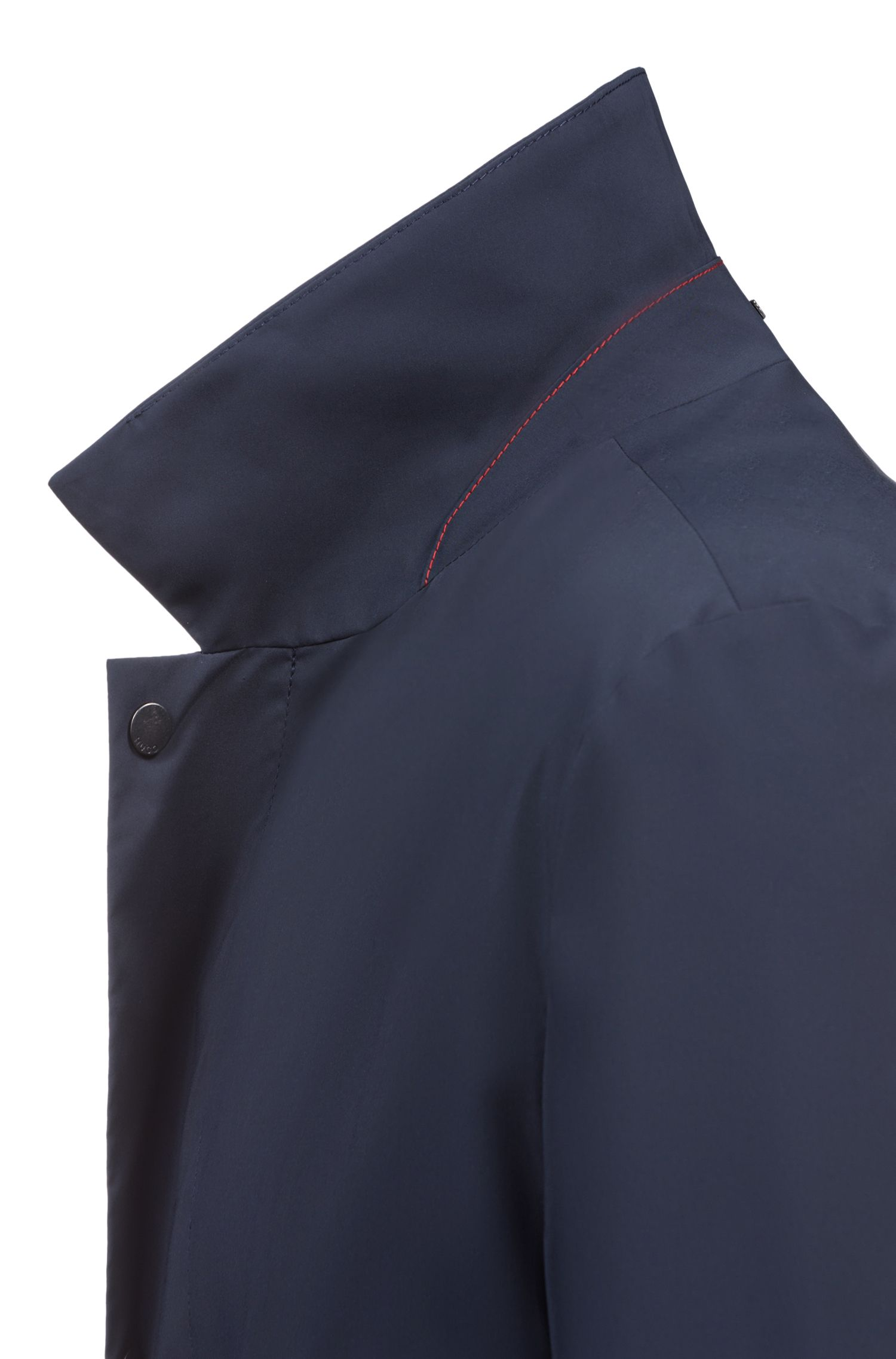 Water-repellent coat in technical fabric with point collar, Dark Blue