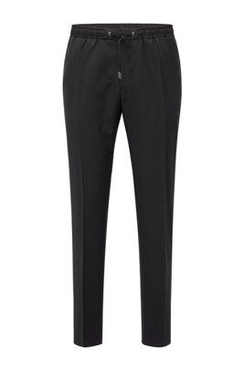 Pantalon Slim Fit en laine vierge avec taille à cordon de serrage, Noir