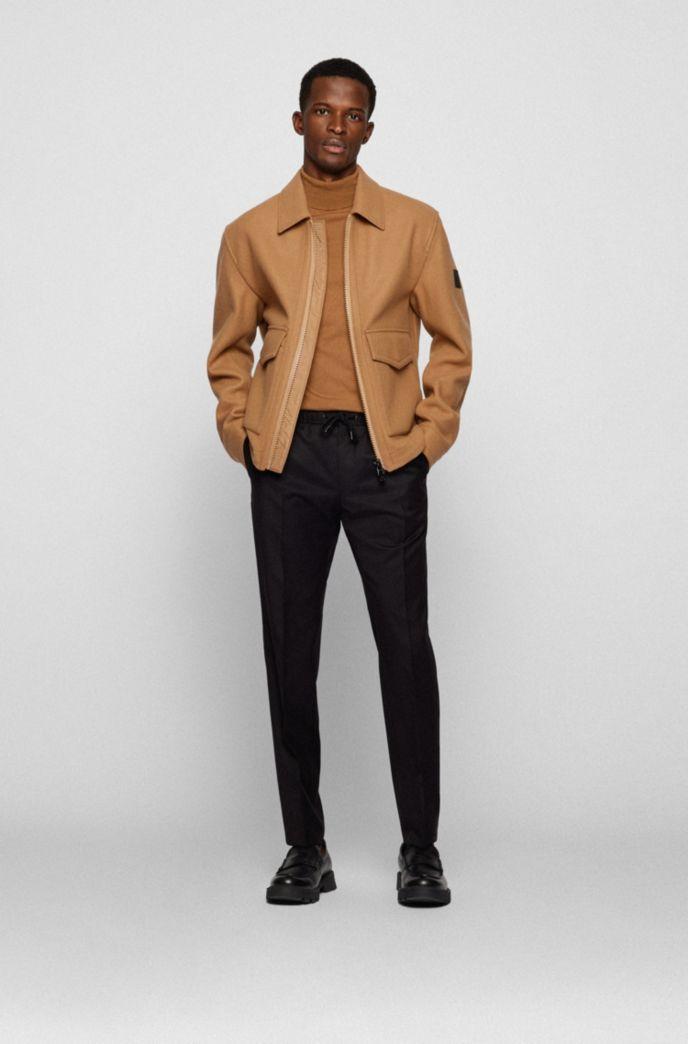 Pantalon Slim Fit en laine vierge avec taille à cordon de serrage