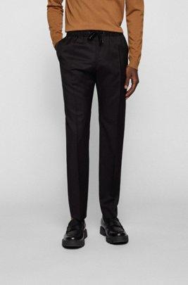 Slim-fit trousers in virgin wool with drawstring waist, Black