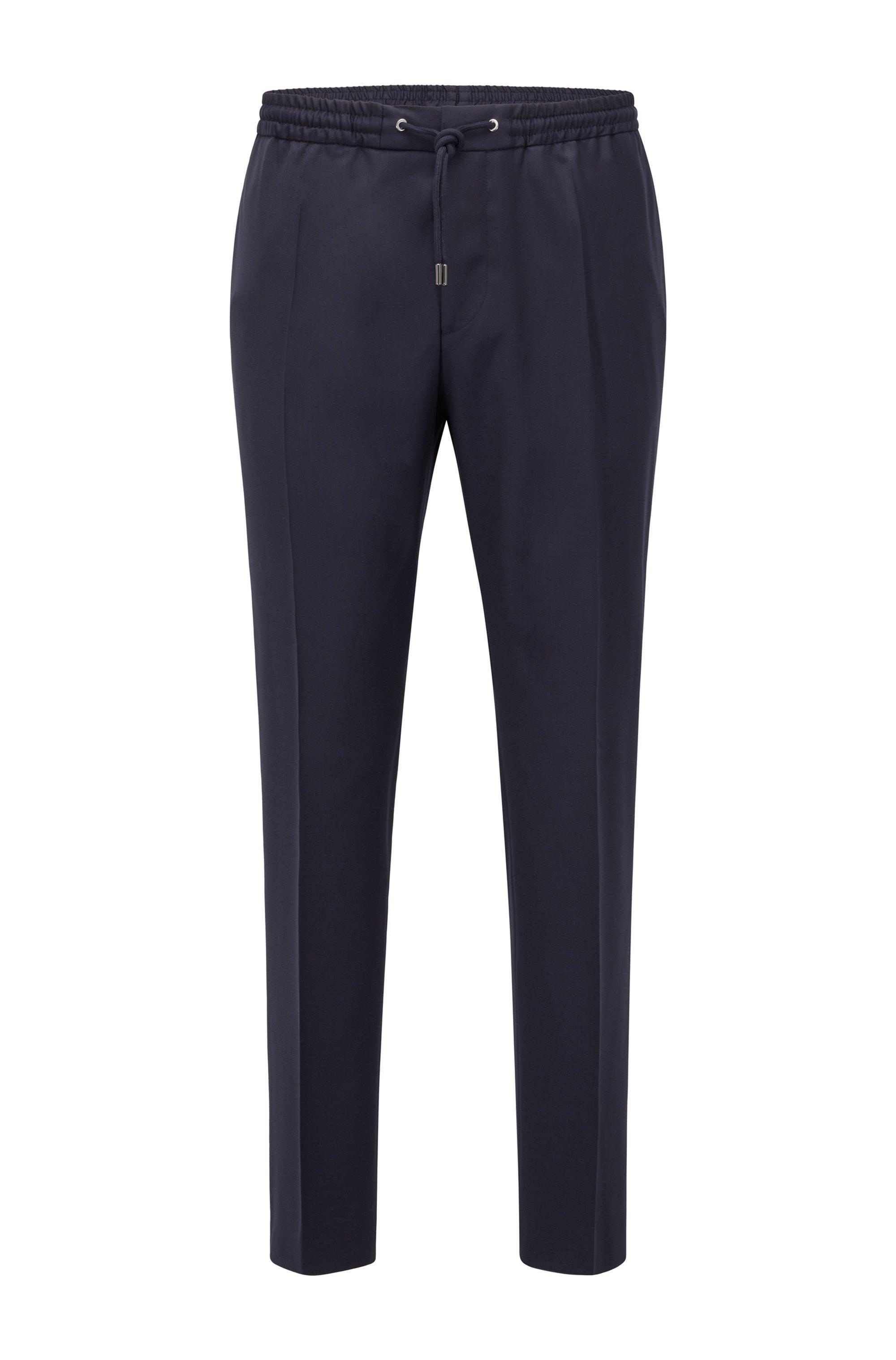 Pantalones slim fit en lana virgen con cordón en la cintura, Azul oscuro