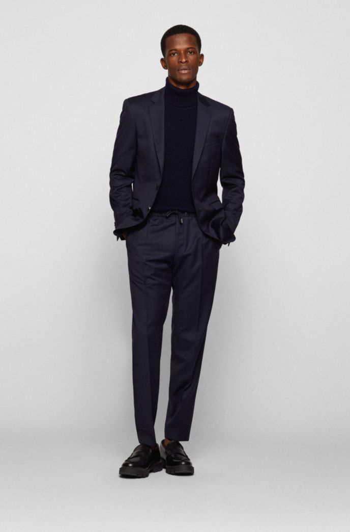 Slim-fit trousers in virgin wool with drawstring waist