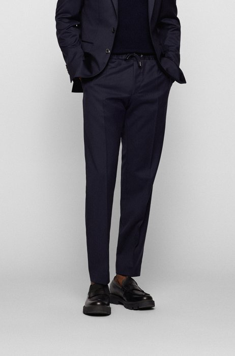 Slim-fit trousers in virgin wool with drawstring waist, Dark Blue