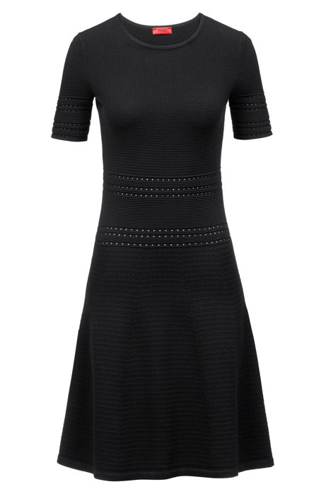 Vestido de punto slim fit con falda evasé, Negro