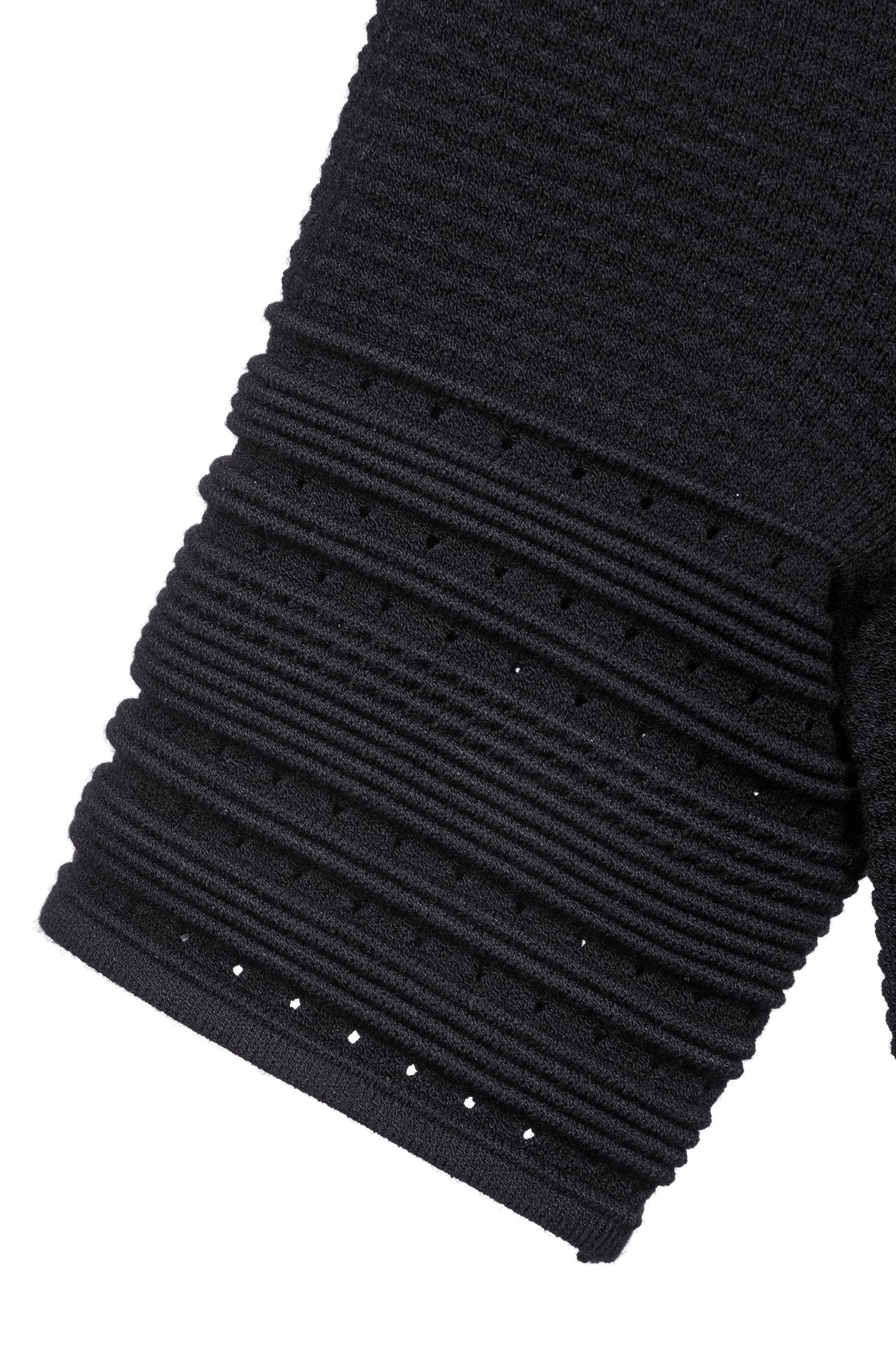 Slim-fit knitted dress with A-line skirt, Black