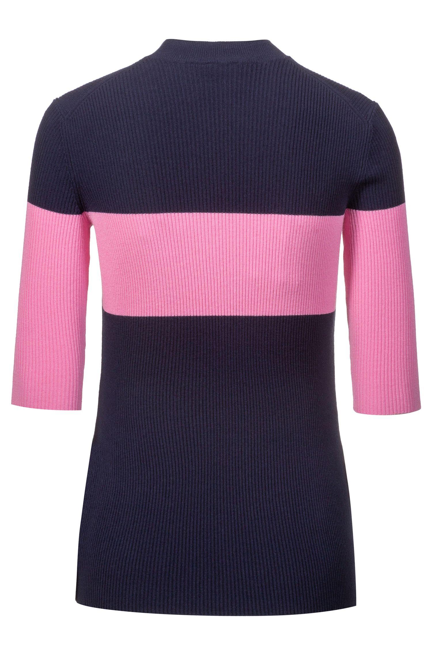 Jersey de bloques de colores de canalé con mangas a medio brazo, Fantasía