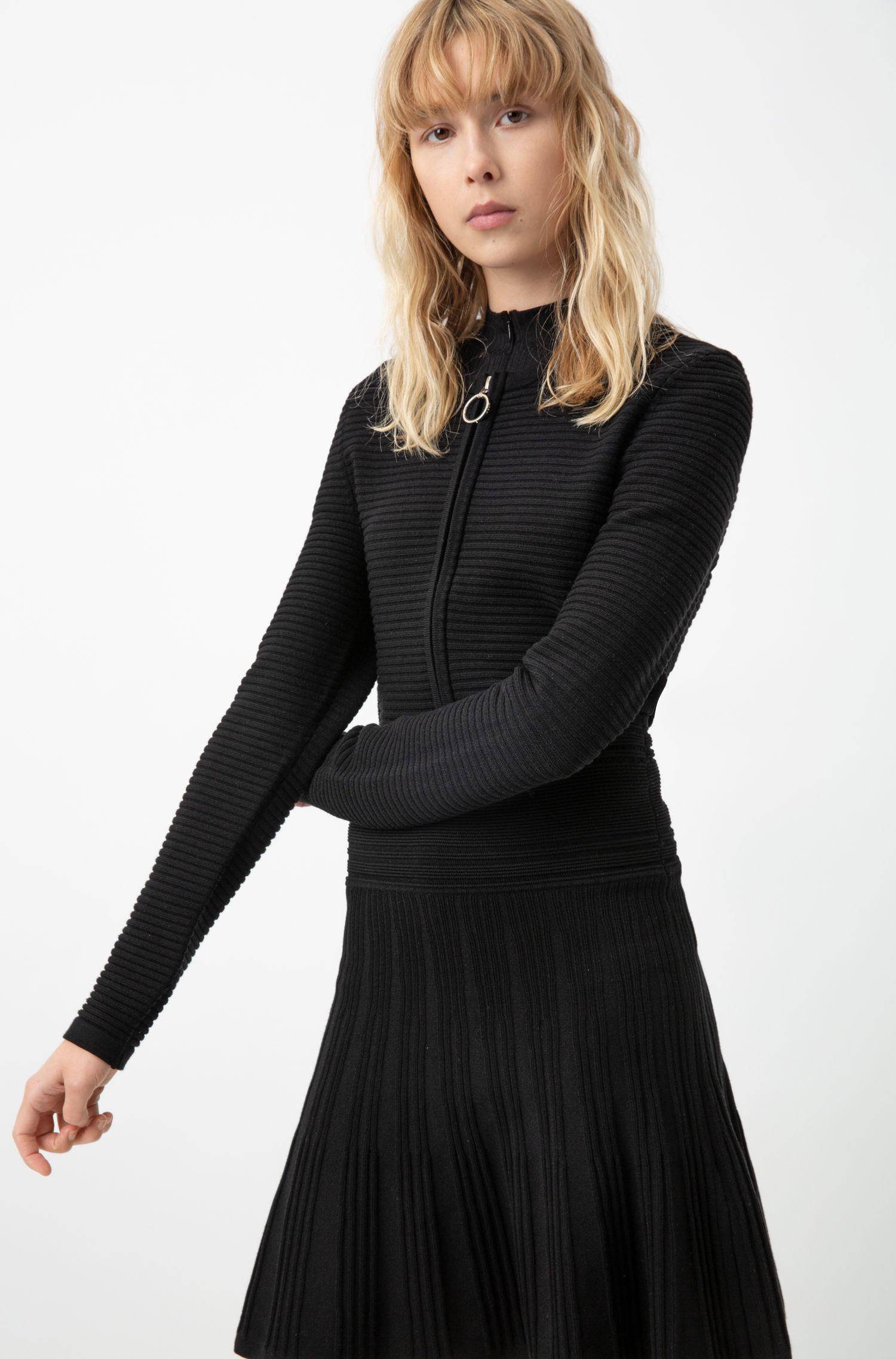 Jupe en maille à textures mélangées et taille adaptable, Noir