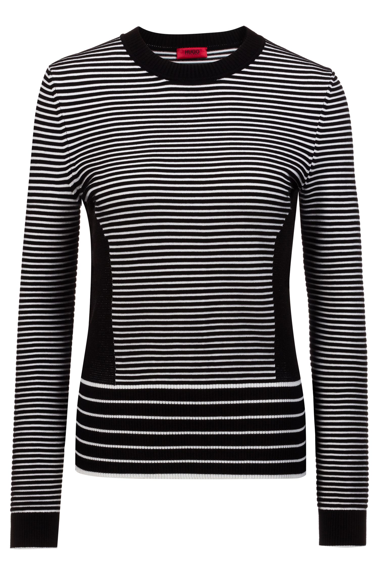 Knitted sweater with mixed stripes, Patterned