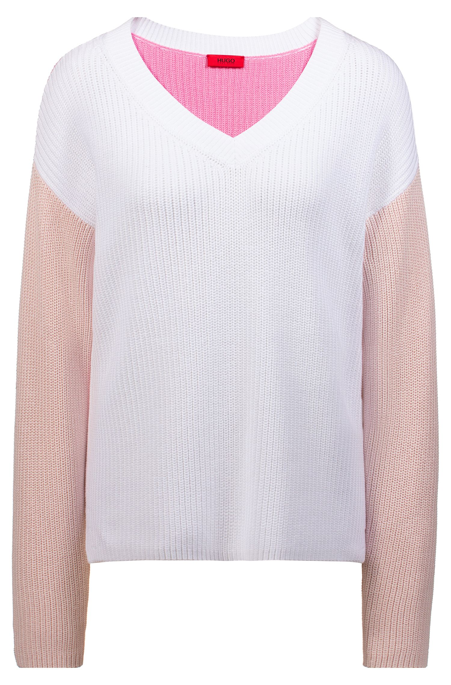 Ribbed colour-block sweater with V neckline, Patterned