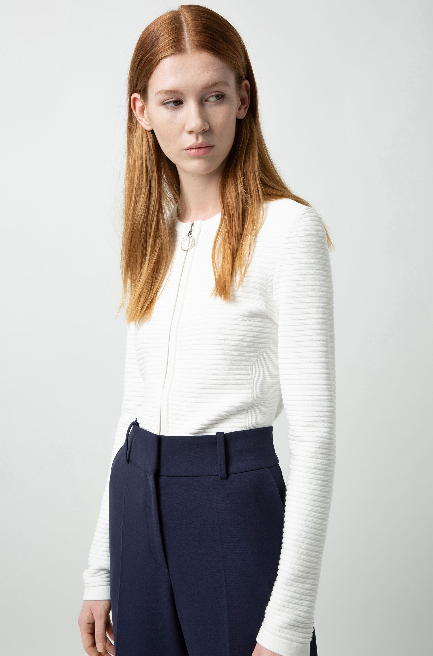 Slim-fit knitted jacket with feature zip-puller, Natural