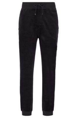 Cuffed-hem loungewear trousers in cotton-blend velour, Black