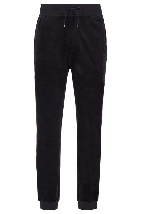 Cuffed-hem loungewear trousers in cotton-blend velour, Black