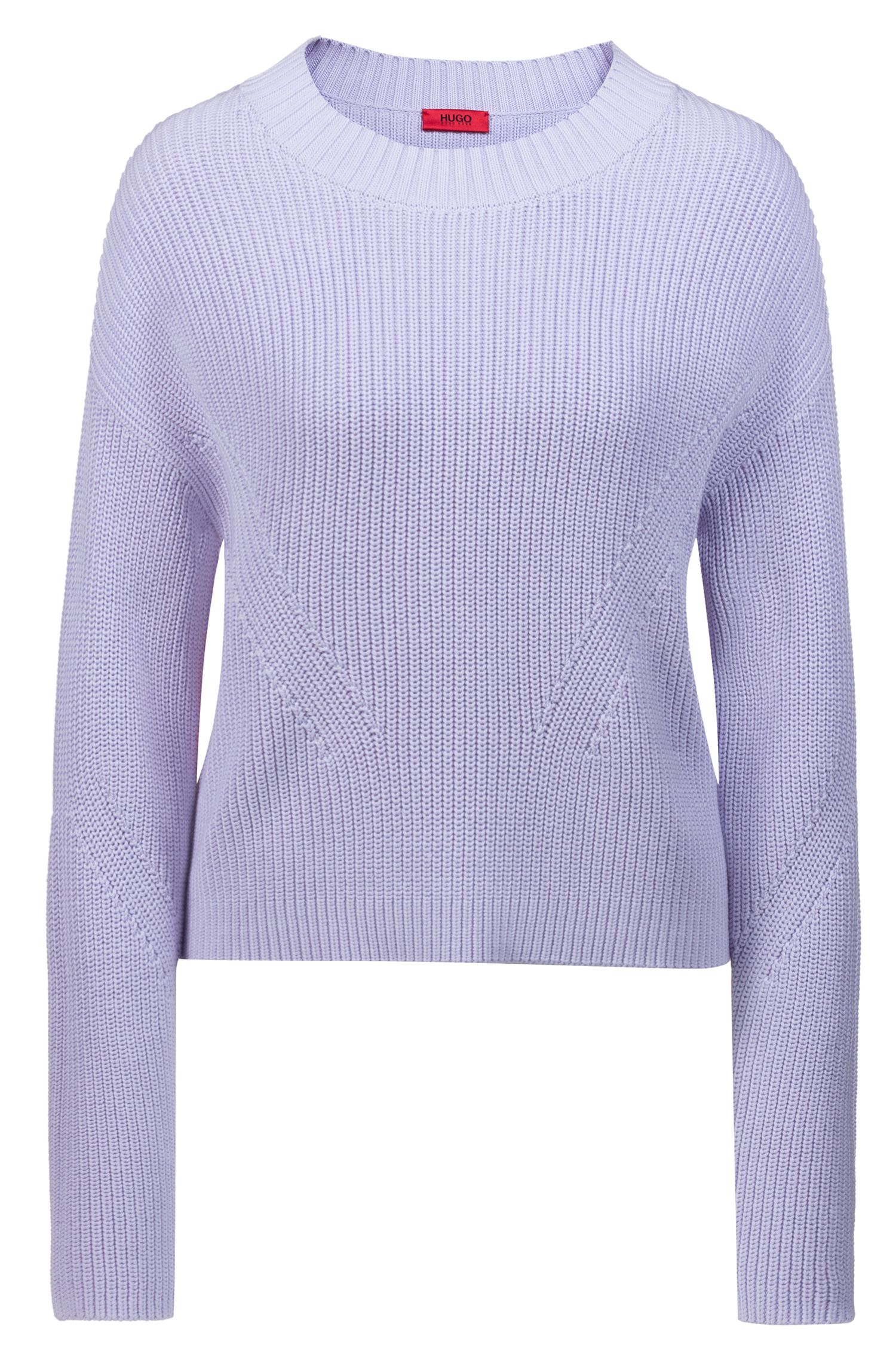 Relaxed-Fit Pullover in Cropped-Länge mit kontrastfarbenen Bändern, Lila
