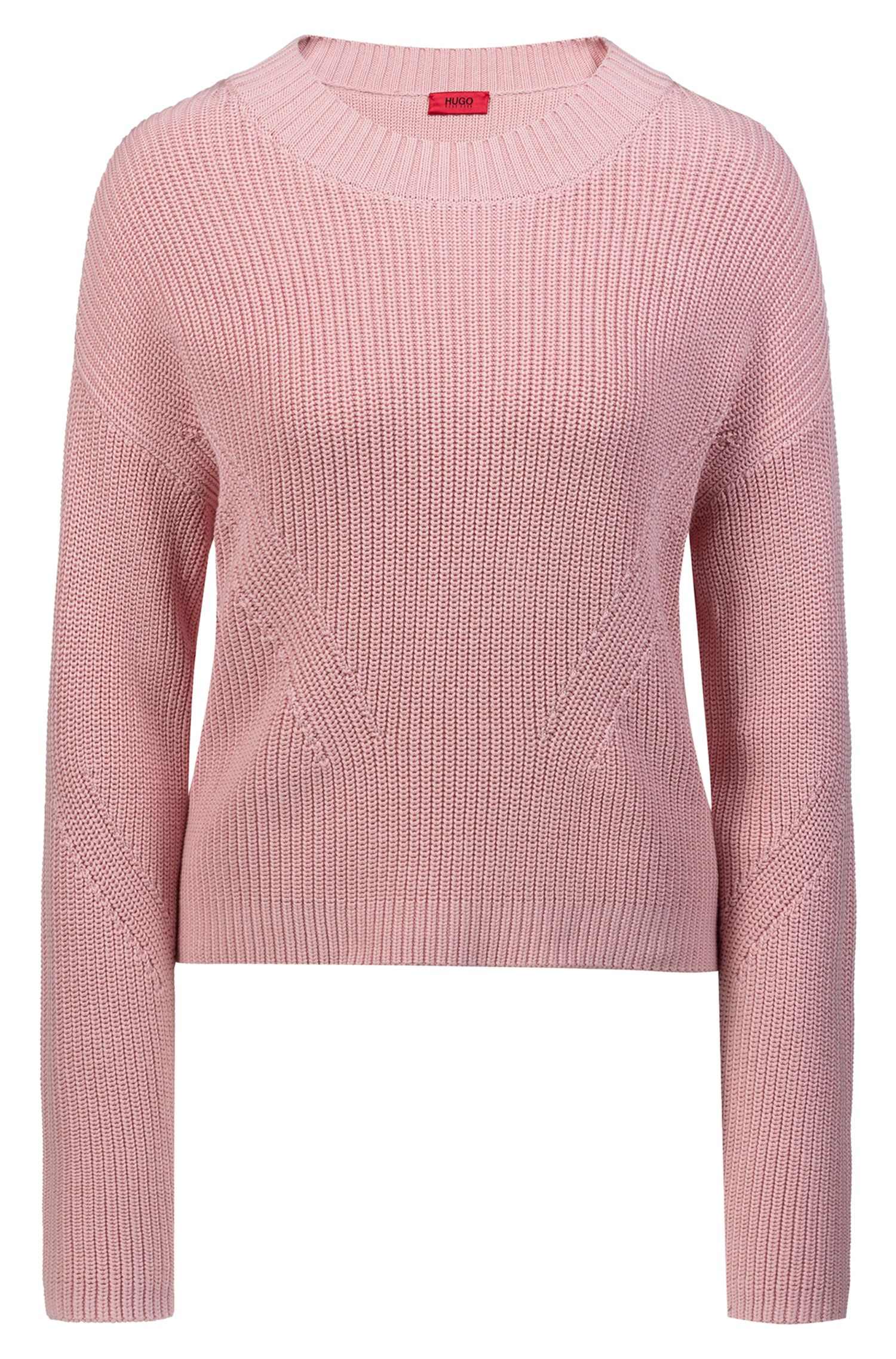 Relaxed-fit cropped sweater with contrast side-seam tape, Pink